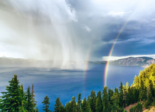 Crater Lake Natl Park, double rainbow