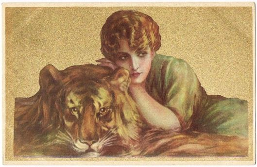 Lady and the Tiger postcard