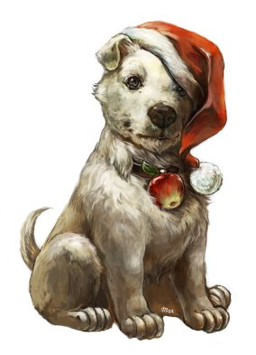 Christmas Dog by Umedama