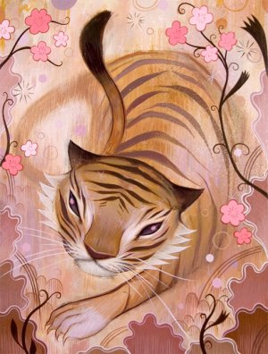 Tiger Among the Flowers