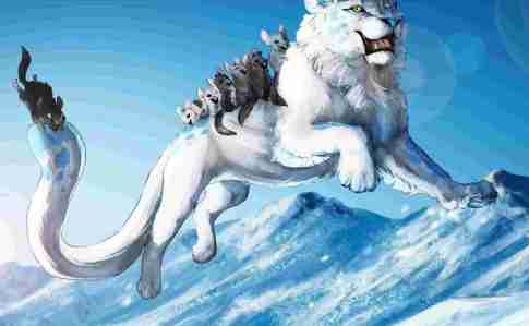 White lion and mice riders