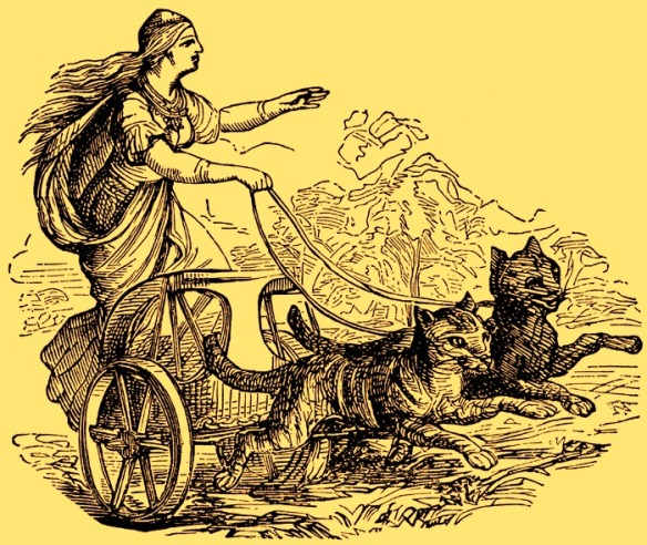 In Norse mythology, Freyja rides a chariot pulled by two cats