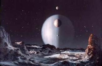 Uranus and Moon by Don Dixon