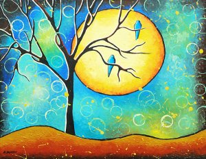Whimsical Bird Moon