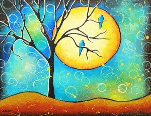 Whimsical Bird Moon