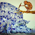 Monkey painting pig