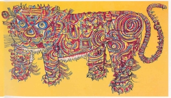 Holiday Tiger woodcut 1964