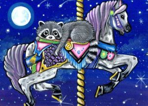 Carousel Moon Horse & Raccoon