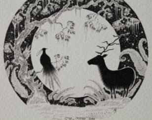 Stag & Crested Bird
