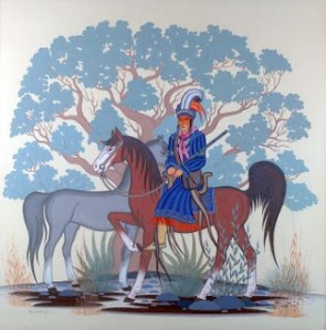 Creek Chief and Two Horses | Acee Blue Eagle